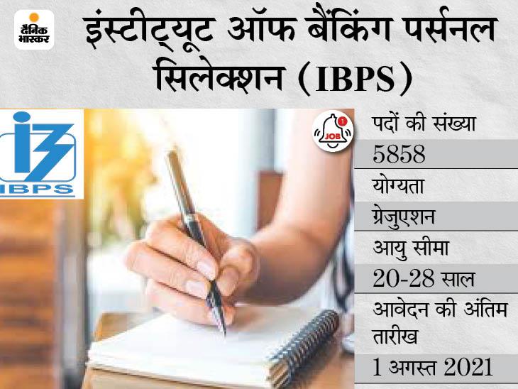 IBPS ने क्लेरिकल कैडर के 5858 पदों पर निकाली भर्ती, आज से आवेदन कर सकेंगे ग्रेजुएट्स कैंडिडेट्स|करिअर,Career - Dainik Bhaskar