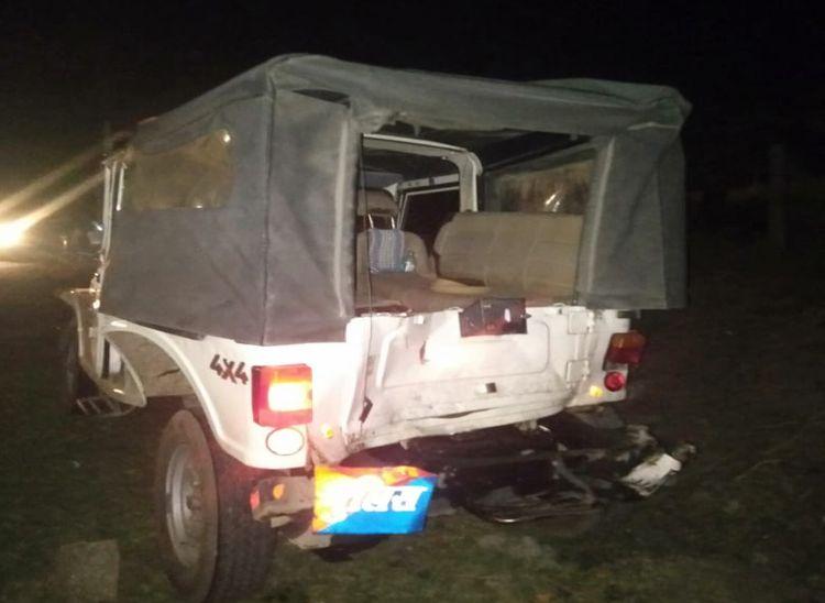 पुलिस जीप व कार को लिया चपेट में, गश्त कर रहे हेड कांस्टेबल सहित तीन की मौत|पाली,Pali - Dainik Bhaskar