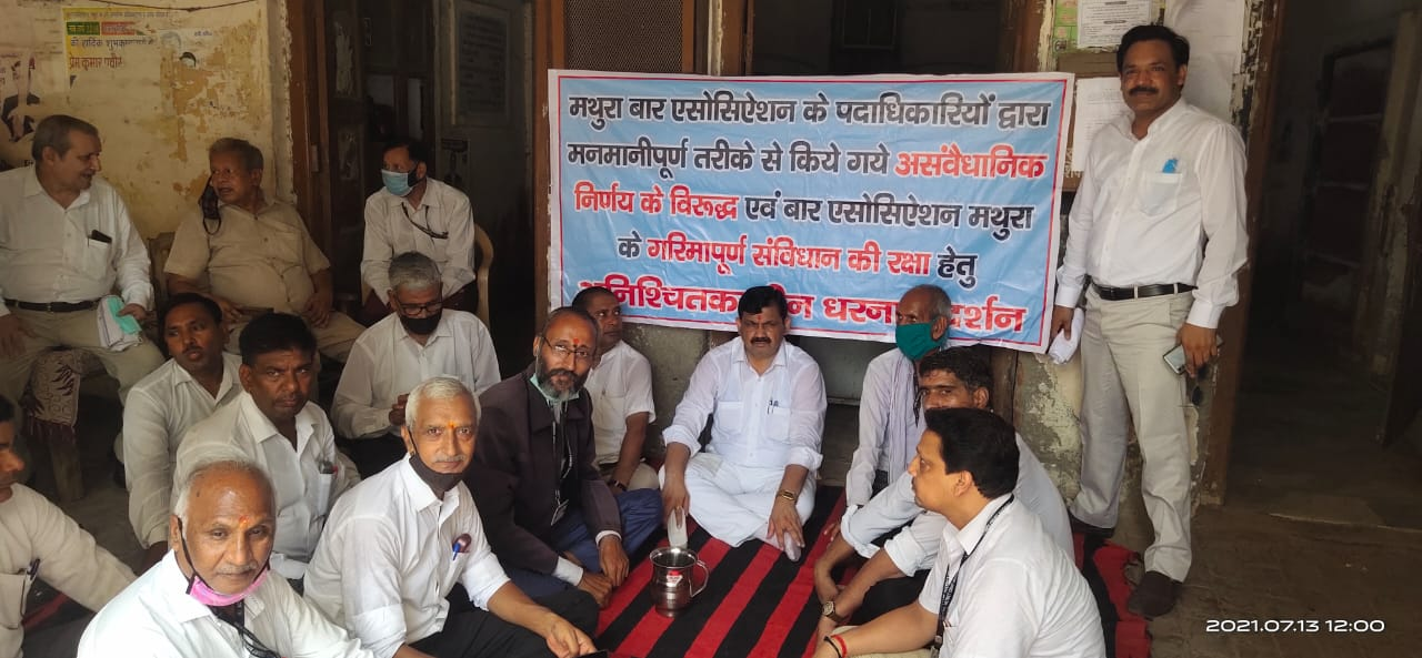 वकीलों ने बार ऑफिस पर दिया धरना, कहा- समय से नहीं हुए चुनाव तो करेंगे आत्मदाह|मथुरा,Mathura - Dainik Bhaskar