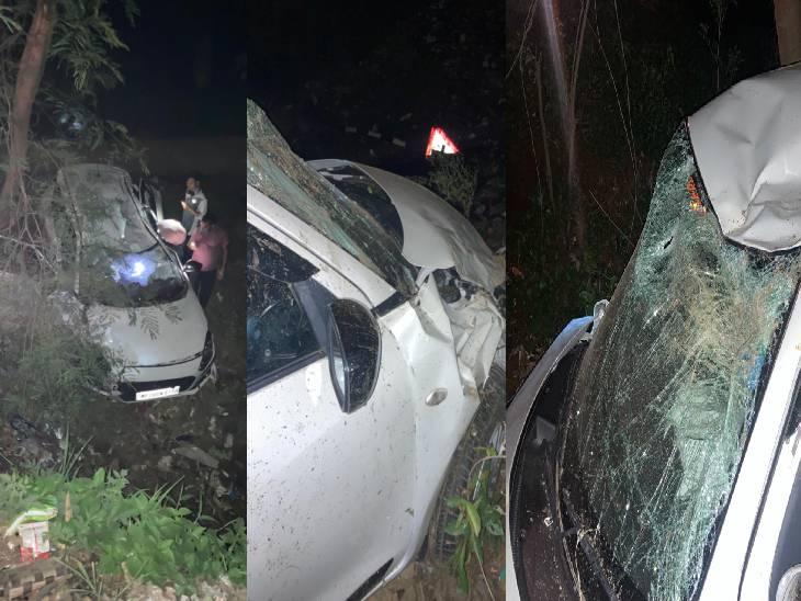 तेज रफ्तार कार अनियंत्रित होकर खेत में दुर्घटनाग्रस्त हुई, एयरबैग खुलने से हल्की चोटें आईं|जबलपुर,Jabalpur - Dainik Bhaskar