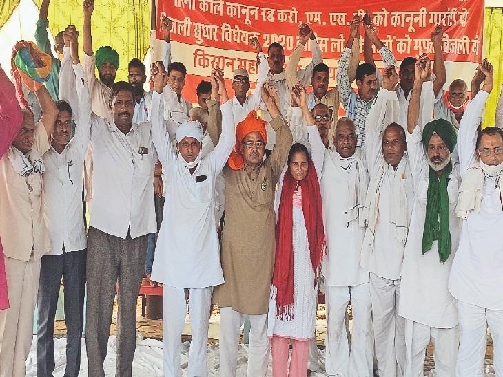 खेतड़ी नगर. लोयल में किसान महापंचायत में एकजुट होकर आंदोलन को तेज करने का आह्वान करते किसान नेता। - Dainik Bhaskar