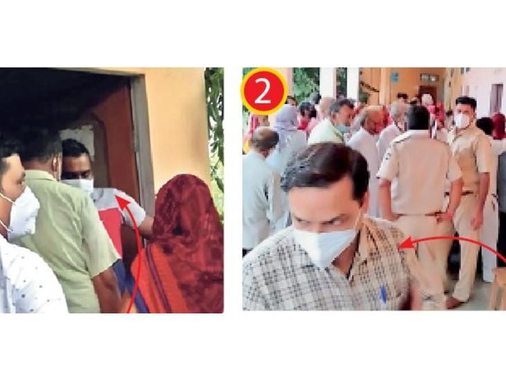 चिड़ावा के राजकला राबाउमावि में अपनी जान-पहचान वालों को पिछले गेट से अंदर भेजते कैम्प प्रभारी डॉ. नवींद्र जांगिड़ (लाल टी शर्ट में) और सरकारी अस्पताल के प्रभारी चिकित्सक डॉ. नितेश जांगिड़। - Dainik Bhaskar