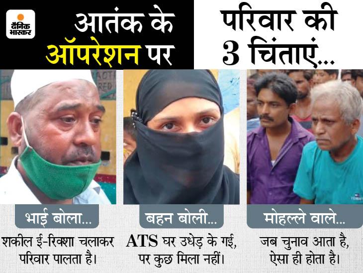 ATS ने शकील समेत 3 आतंकियों को लखनऊ से दबोचा, भाई बोला- शकील ई-रिक्शा चलाकर परिवार पाल रहा था, घर पहुंचे मीडियाकर्मियों से मारपीट|लखनऊ,Lucknow - Dainik Bhaskar
