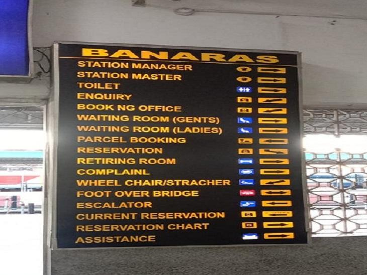 स्टेशन में बोर्ड पर बदला नाम 'BANARAS' रेलवे स्टेशन।