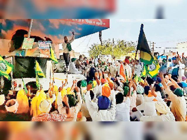 9 किसान हिरासत में लेने पर 7 घंटे तक हाईवे जाम, रिहाई के बाद हटे|पटियाला,Patiala - Dainik Bhaskar