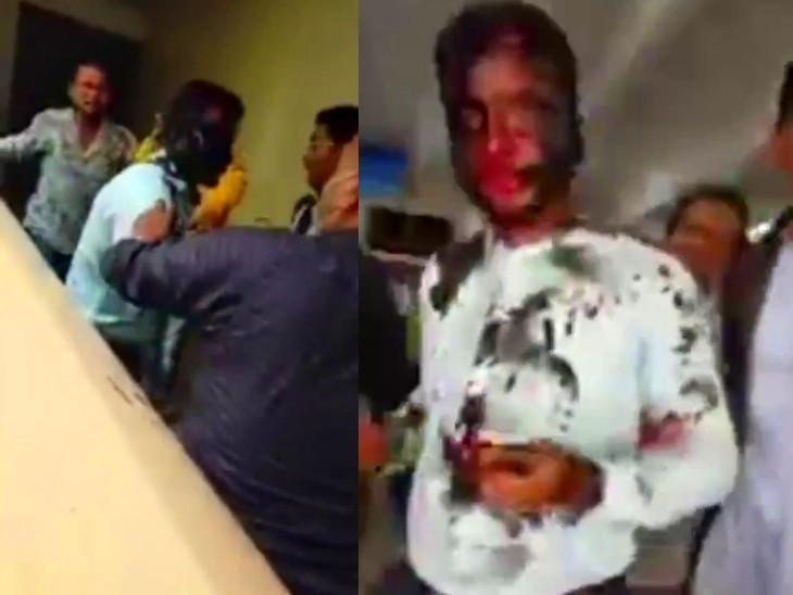 इस घटना का वीडियो भी शख्स की पिटाई करने वाले किसी व्यक्ति ने बनाया और पुलिस को दे दिया। - Dainik Bhaskar