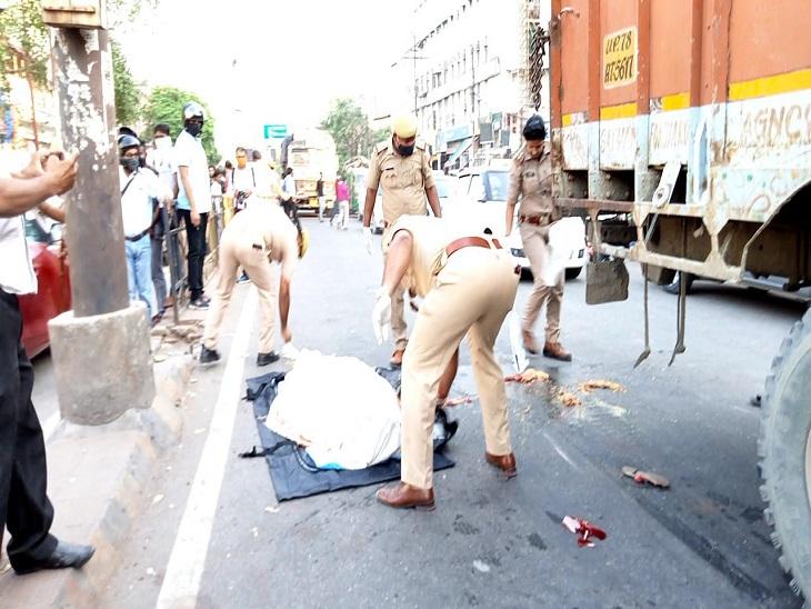 पुलिस की मिलीभगत से शहर की सबसे व्यस्त रोड पर नो एंट्री होने के बावजूद घुसा ट्रक कानपुर,Kanpur - Dainik Bhaskar