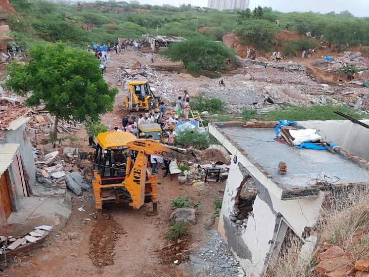 बारिश के कारण तोड़फोड़ की कार्रवाई रोकना पड़ी। - Dainik Bhaskar