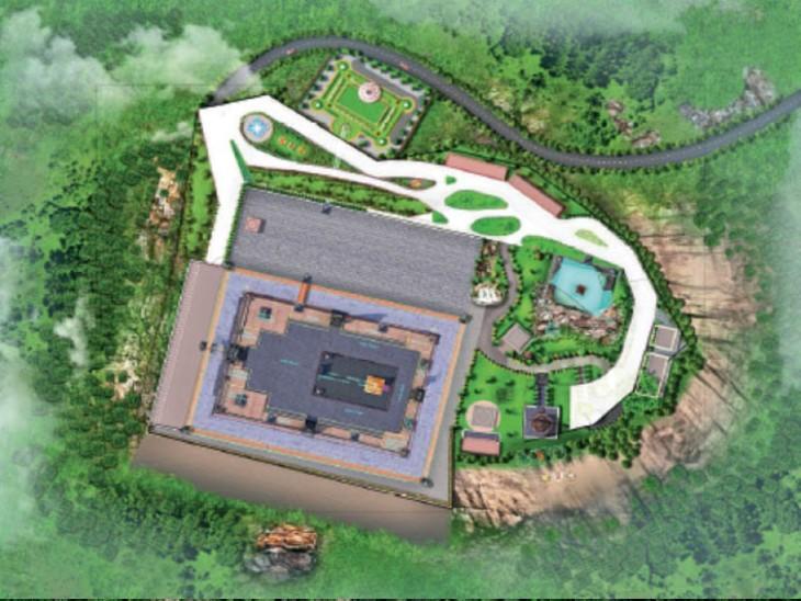 ऊपर से: परिसर के 3 तरफ 4.5 फीट मोटाई की 8200 फीट ऊंची रिटेनिंग दीवारें होंगी। 60 पौराणिक मंदिरों के वास्तु से प्रेरणा लेकर निर्माण हुआ है।
