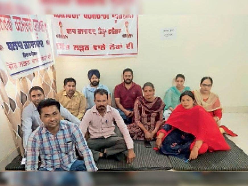 जलालाबाद में मांगों को लेकर धरने पर बैठे मगनरेगा कर्मचारी। - Dainik Bhaskar