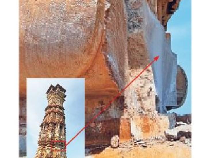 दुर्ग से करीब 40 किलो वजनी पत्थर टूट कर गिर गया। - Dainik Bhaskar