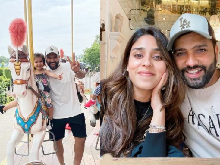 रोहित शर्मा अपनी बेटी और पत्नी के साथ खुलेआम घूमते दिखे।