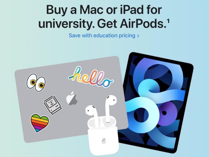 भारतीय छात्रों को आईपैड, मैकबुक, आईमैक खरीदने पर फ्री एयरपॉड्स मिलेंगे; मेंबरशिप लेने में भी छूट मिलेगी|टेक & ऑटो,Tech & Auto - Dainik Bhaskar