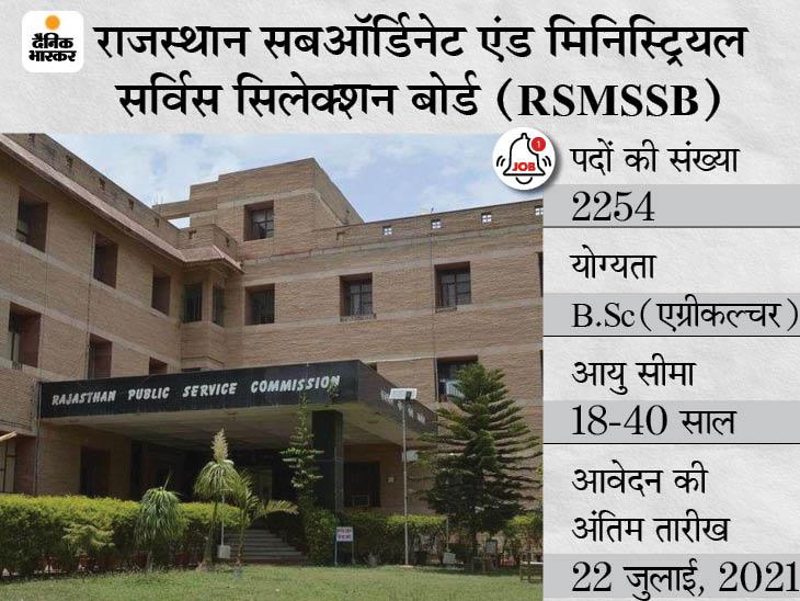 एग्रीकल्चर सुपरवाइजर के 2254 पदों पर भर्ती के लिए करें अप्लाई, 22 जुलाई आवेदन की आखिरी तारीख|करिअर,Career - Dainik Bhaskar