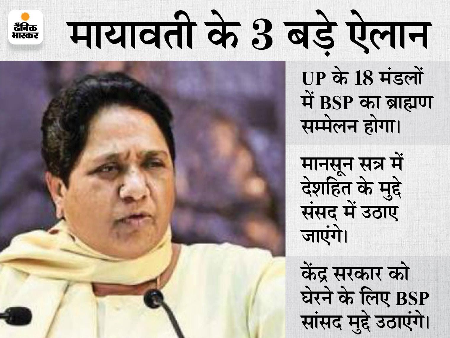 18 मंडलों में ब्राह्मण सम्मेलन कराएगी BSP, अयोध्या से होगा आगाज; बसपा सुप्रीमो बोलीं- ब्राह्मण अब BJP को कभी वोट नहीं देंगे|लखनऊ,Lucknow - Dainik Bhaskar