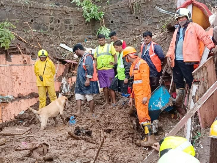 NDRF की टीम लंबे समय तक राहत और बचाव कार्य में जुटी रही। स्निफर डॉग की मदद से मलबे में दबे लोगों को ढूंढा गया।