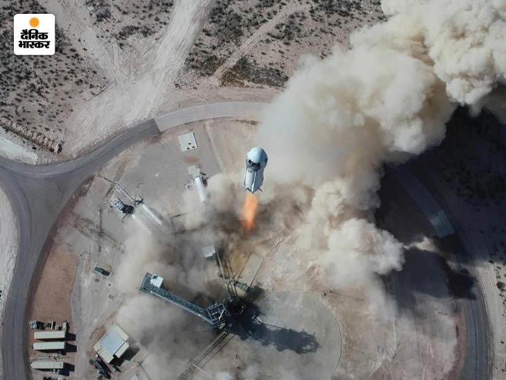 जेफ बेजोस ने ब्लू ओरिजिन कंपनी के न्यू शेपर्ड रॉकेट में वेस्ट टेक्सास के रेगिस्तान से भारतीय समयानुसार मंगलवार शाम 6:42 बजे उड़ान भरी। बेजोस और उनके साथी धरती से 105 किमी ऊपर अंतरिक्ष तक गए और कुछ मिनट तक शून्य गुरुत्वाकर्षण में रहे।