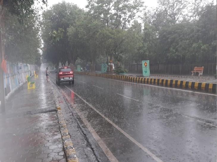 मंगलवार को शहर में मौसम रहा मेहरबान, दोपहर से रात तक हुई बारिश, किसानों के खिले चेहरे|ग्वालियर,Gwalior - Dainik Bhaskar