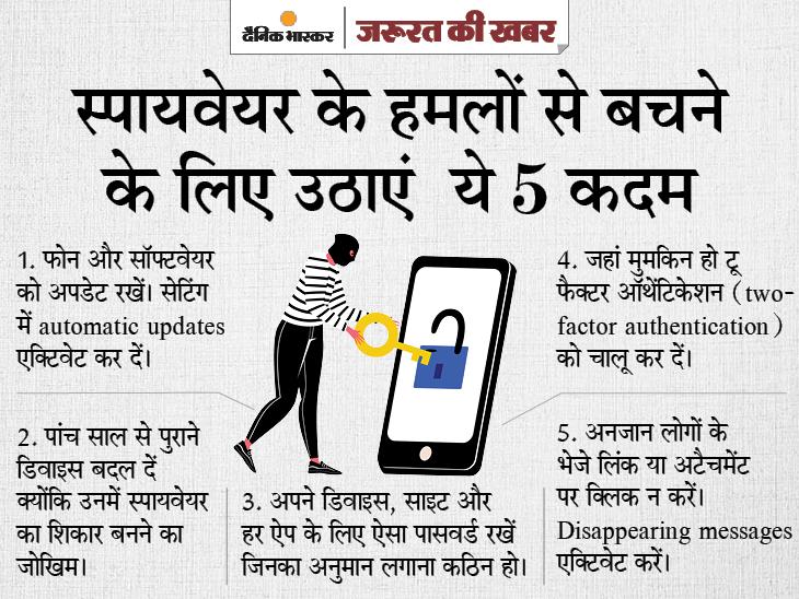 आपकी मर्जी के बगैर फोन का कैमरा चलाने से लेकर मैसेज पढ़ने तक, जानिए पेगासस की हर बात और इससे बचने की ट्रिक|ज़रुरत की खबर,Zaroorat ki Khabar - Dainik Bhaskar