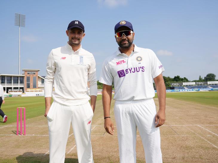 प्रैक्टिस मैच से पहले काउंटी-XI टीम के कप्तान विल रोड्स और भारतीय टीम के कप्तान रोहित शर्मा।