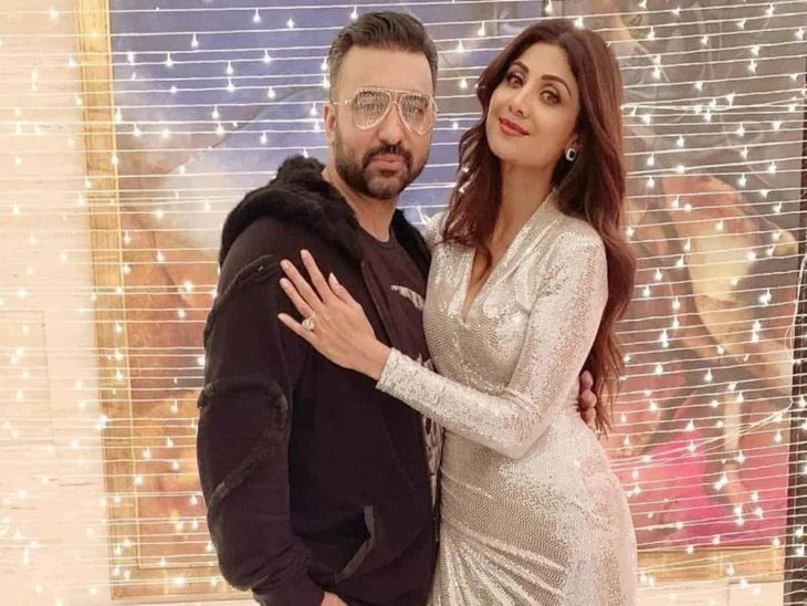 पति राज कुंद्रा के साथ शिल्पा शेट्टी।