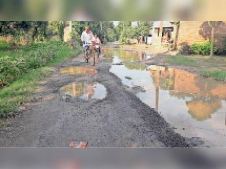 पूसा: वैनी गांव में जर्जर सड़क पर बने बड़े-बड़े गड्ढे और जलजमाव। - Dainik Bhaskar