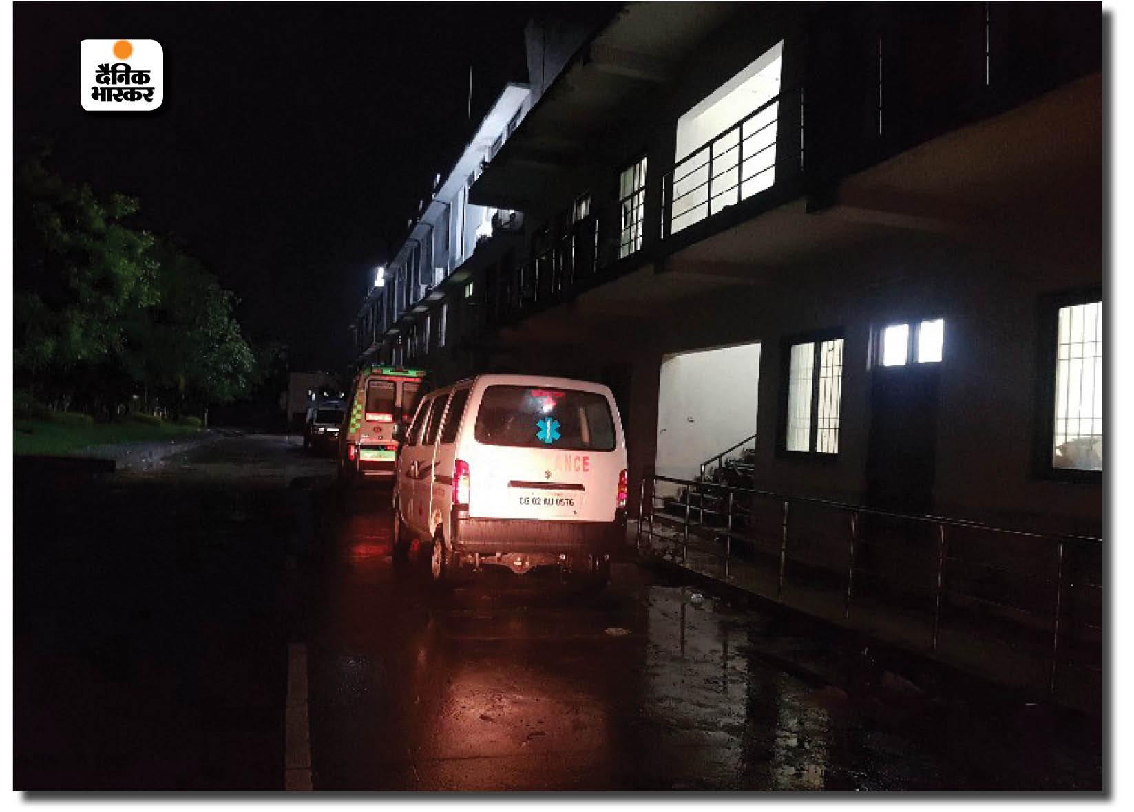 पंडरी में रायपुर जिला अस्पताल का कैम्पस, जहां रात में बच्चों की मौत के बाद हंगामा हुआ।