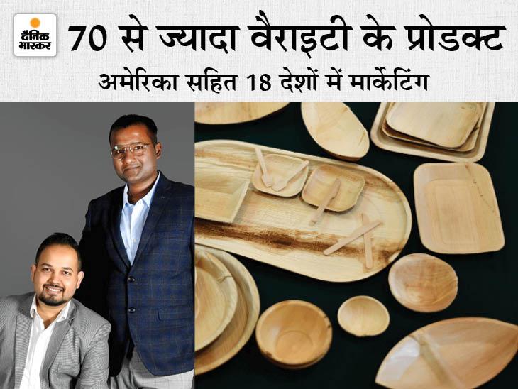 दो दोस्तों ने 20 हजार रु. खर्च कर सूखी पत्तियों से प्लेट बनानी शुरू की, आज 18 करोड़ टर्नओवर; 140 लोगों को नौकरी भी दी DB ओरिजिनल,DB Original - Dainik Bhaskar