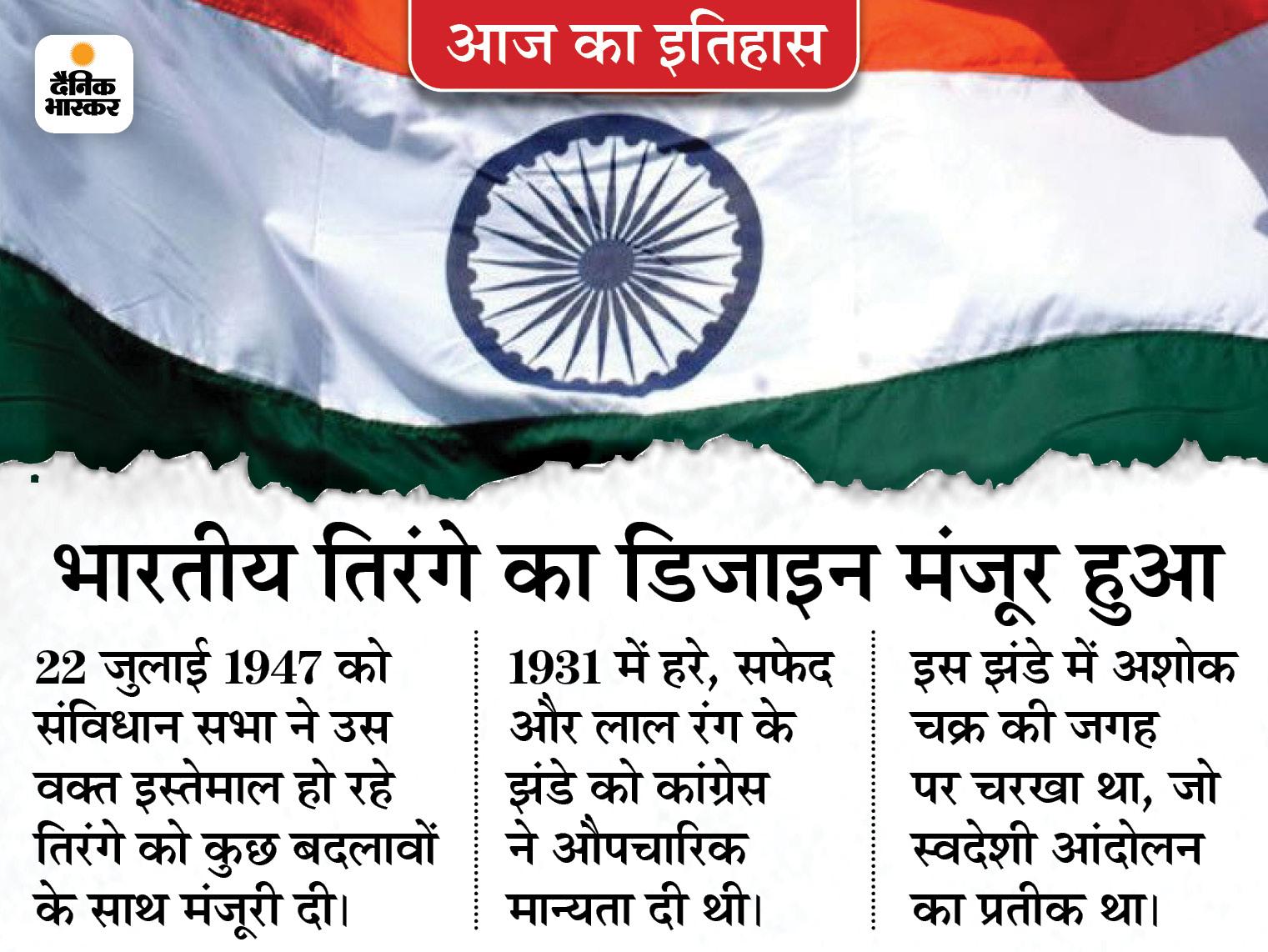 देश की आजादी से 24 दिन पहले तय हुआ कैसा होगा राष्ट्रध्वज, इसमें शामिल हर रंग और अशोक चक्र की भी नई व्याख्या हुई|देश,National - Dainik Bhaskar