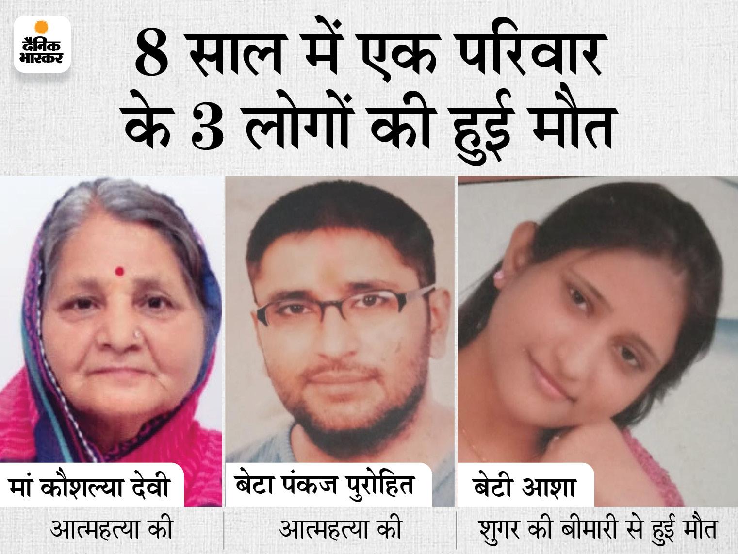 पहले जवान बेटे ने खुदकुशी की, फिर बेटी की बीमारी से मौत हुई, अब मां ने जान दे दी, मानसिक बीमार बेटे की जिम्मेदारी70 साल के बुजुर्ग पर|राजस्थान,Rajasthan - Dainik Bhaskar