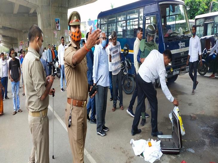 कैंट रेलवे स्टेशन के समीप लावारिस अटैची मिलने की सूचना पर पहुंचा बम निरोधक दस्ता और सिगरा थाने की पुलिस।