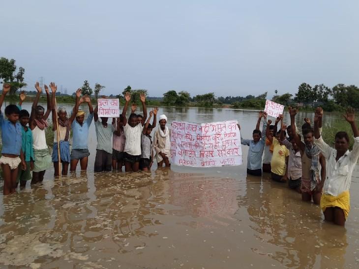 रोहतास में कांव नदी पर पुलिस नहीं होने से बेवजह तय करनी पड़ती है 10 KM दूरी, आक्रोश में दर्जन भर ग्रामीणों ने किया प्रदर्शन|रोहतास,Rohtas - Dainik Bhaskar
