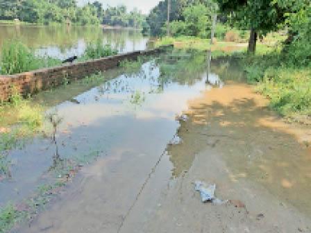 बंगरहट्टावार्ड - 14 की सड़क पर बहता कमला नदी का पानी। - Dainik Bhaskar