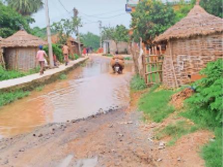 शिवाजीनगर : रहियार गांव में सड़क पर महीनों से पानी का जमावड़ा। - Dainik Bhaskar