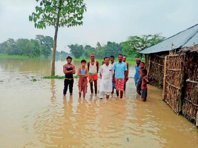 घोगररिया पंचायत के वार्ड 15 में लोगों घरों में गुसा बाढ़ का पानी। - Dainik Bhaskar