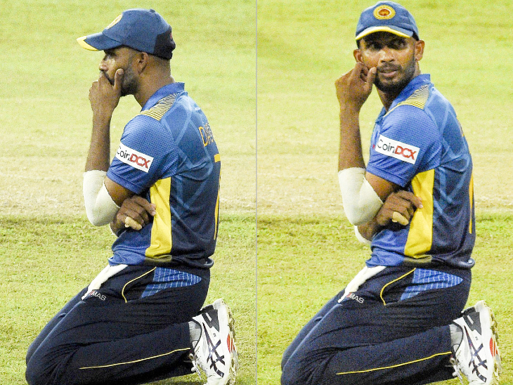 हार के बाद निराश नजर आए श्रीलंकाई कप्तान दासुन शनाका।