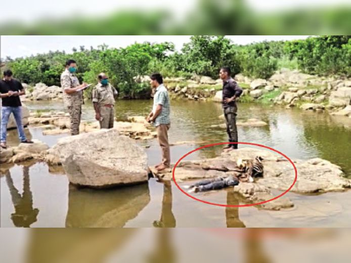 महुअर नदी दो युवकों के कंकाल मिलने के बाद जांच करते पुलिस। - Dainik Bhaskar