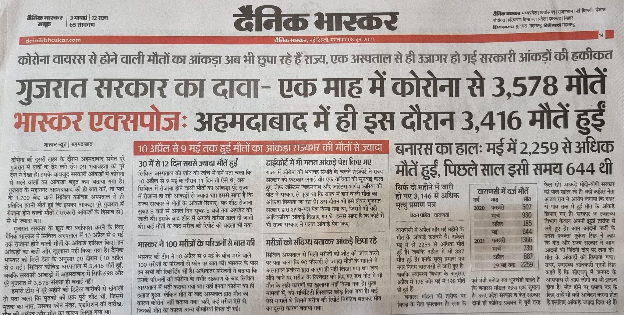 गुजरात में किस तरह कोरोना से हुई मौतों का आंकड़ा छिपाया जा रहा था, इस पर रिपोर्ट दिखाई।