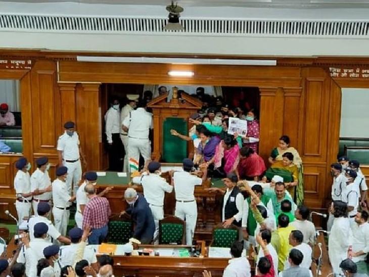 23 मार्च को विधानसभा में सीढ़ियों से उठाकर फेंके गए थे विधायक; 121 दिन बाद हुई कार्रवाई, 2 सिपाही सस्पेंड|पटना,Patna - Dainik Bhaskar