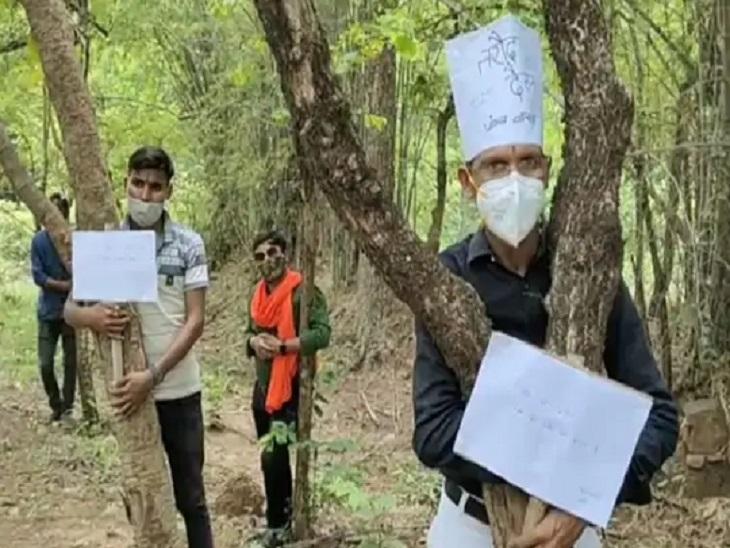 बाईपास निर्माण के लिए पेड़ों को कटने से बचाने के लिए पर्यावरण प्रेमी लगातार प्रदर्शन कर रहे हैं। पहले पेड़ों से लिपट कर विरोध जताया।
