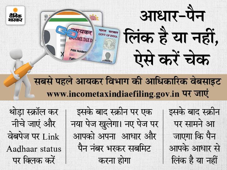 आपके पैन और आधार लिंक हैं या नहीं, घर बैठे करें चेक; लिंक ना होने पर एक्टिव नहीं रहेगा बैंक अकाउंट|बिजनेस,Business - Dainik Bhaskar