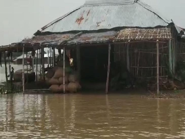 सहरसा में बाढ़ ने आवागमन से जीवनयापन तक सब कुछ किया प्रभावित; ना खाने को अन्न है, ना पलायन करने के लिए नाव बिहार,Bihar - Dainik Bhaskar