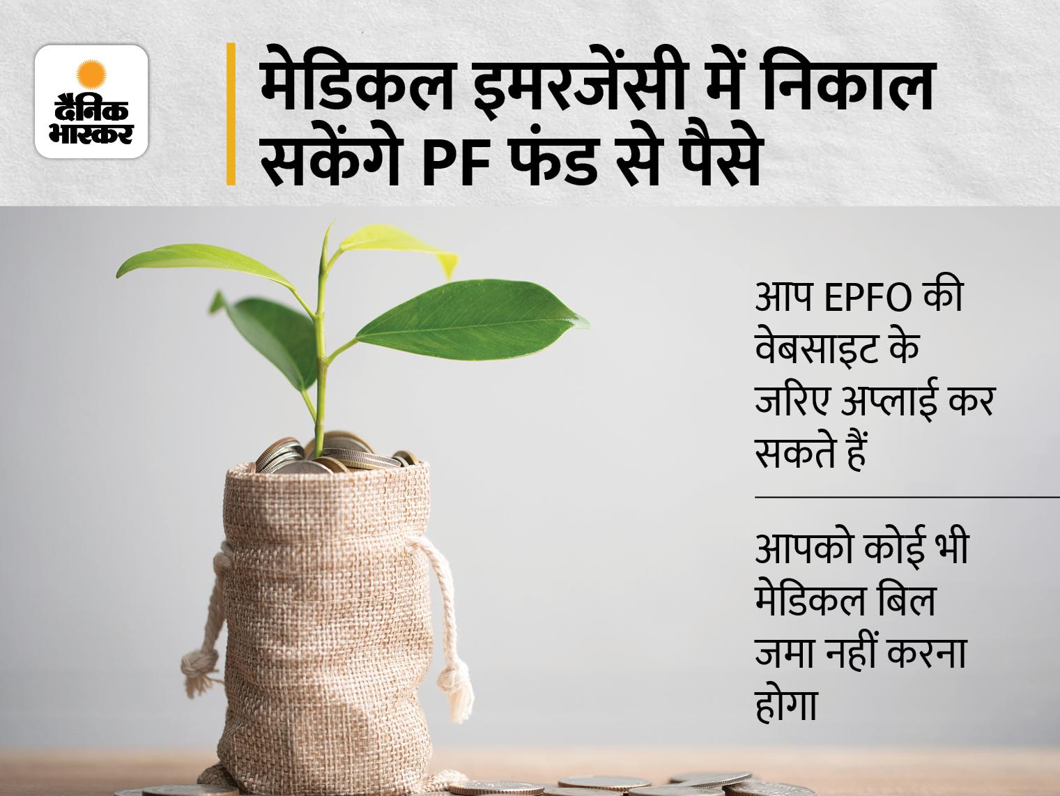 इलाज के लिए पैसों की जरूरत पड़ने पर PF से निकाल सकते हैं 1 लाख तक का फंड, 1 घंटे में अकाउंट में आ जाएगा पैसा बिजनेस,Business - Dainik Bhaskar