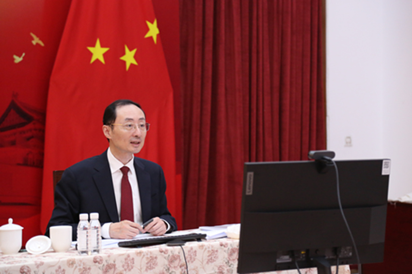 कार्यक्रम को संबोधित करते दिल्ली में चीन के राजदूत सुन डीवांग।