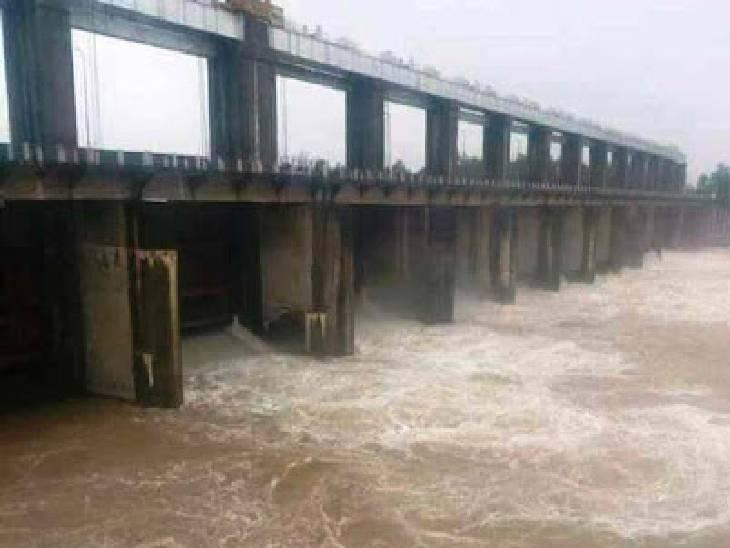 सतना जिले में चल रही रिमझिम बारिश से रीवा जिले के तराई क्षेत्रों में बाढ़ का खतरा, बकिया बराज के खोले गए 12 गेट रीवा,Rewa - Dainik Bhaskar