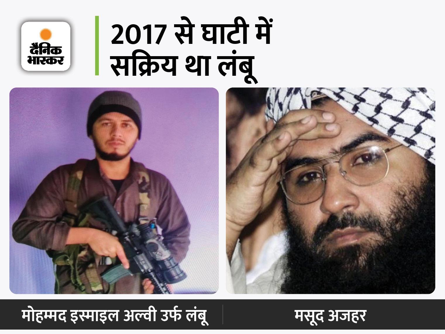 पुलवामा हमले की साजिश में शामिल लंबू भी मारा गया; जैश के सरगना मसूद अजहर का रिश्तेदार था|देश,National - Dainik Bhaskar