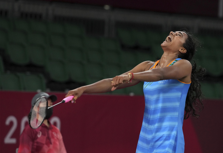 ब्रॉन्ज मेडल जीतने के बाद खुश पीवी सिंधु।