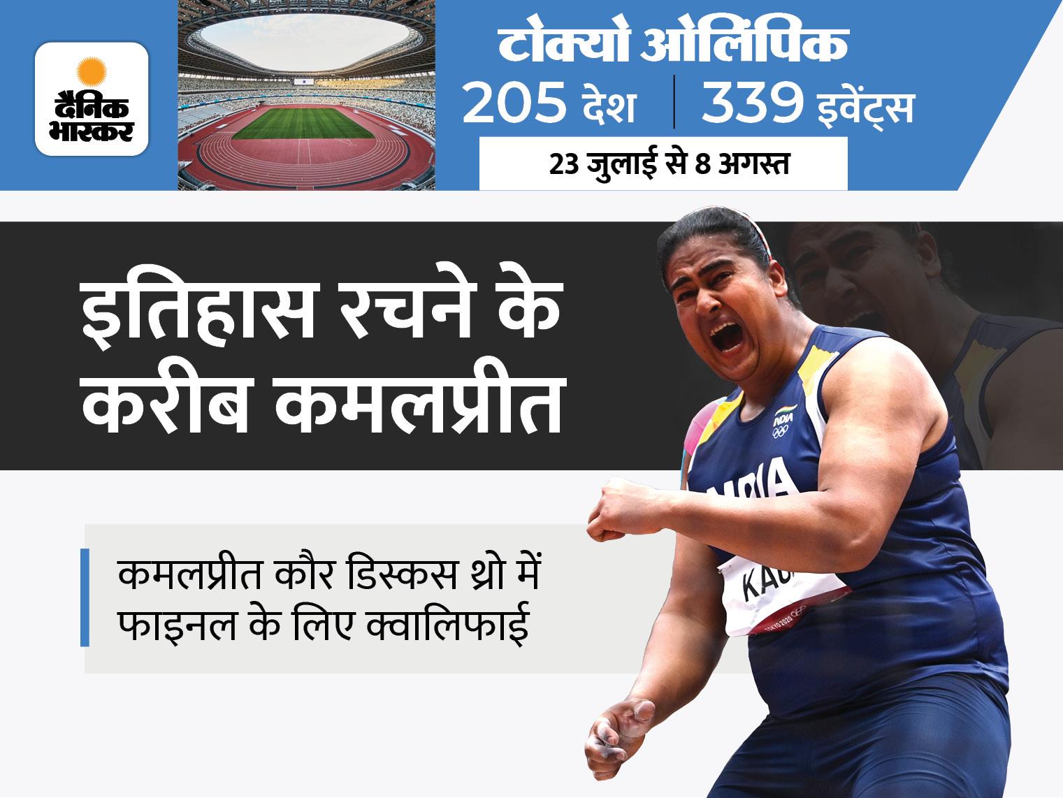 भारतीय डिस्कस थ्रोअर ने वीडियो कॉल के जरिए आज निजी कोच के साथ ट्रेंनिग की; कल फाइनल में उतरेंगी कमल|टोक्यो ओलिंपिक,Tokyo Olympics - Dainik Bhaskar