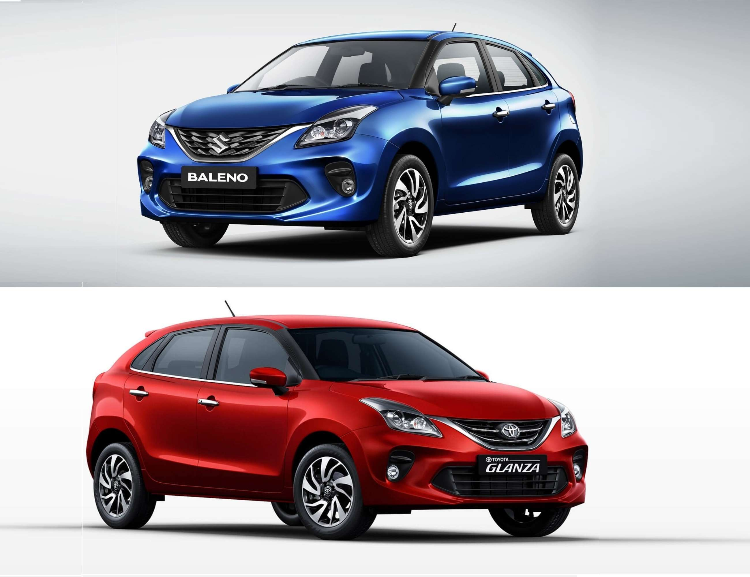 Maruti-Suzuki's Baleno hatchback is sold by Toyota from its showroom under the name Glanza.