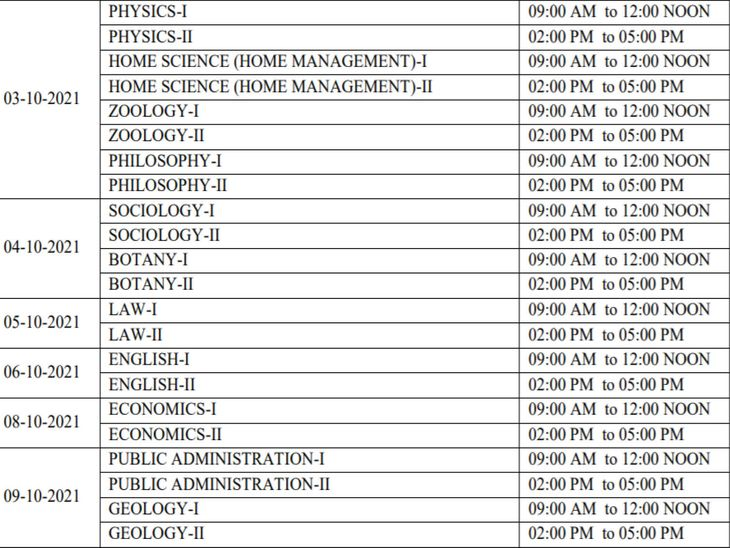 Time table released by RPSC